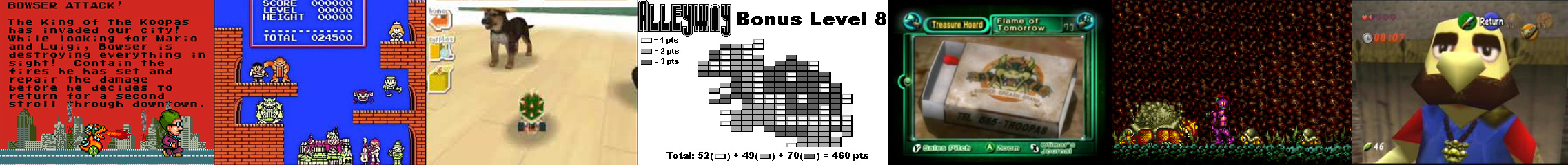 Sim City (SNES), Tetris (NES), Nintendogs (DS), Alleyway (GB), Pikmin 2 (NGC) Super Metroid (SNES) et The Legend of Zelda : OoT (N64)