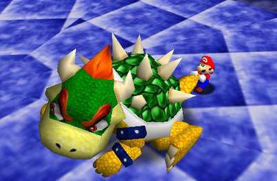 Dans Super Mario 64 et l'arrivée de la 3D, Mario a trouvé un nouveau point faible à Bowser.