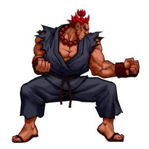 La célèbre posture de charge d'Akuma, avant l'annihilation de son adversaire