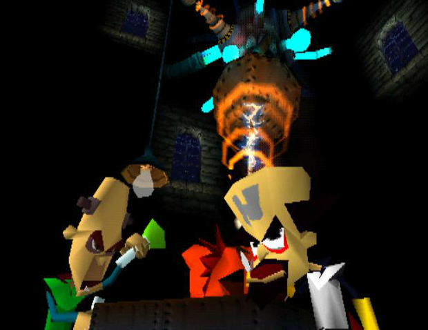 Cortex et Nitrus Brio teste l'Evolvo-Ray sur Crash Bandicoot.