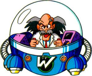 Le Dr. Wily se déplace généralement en Capsule, comme dans ce dessin réalisé pour Mega Man 5.