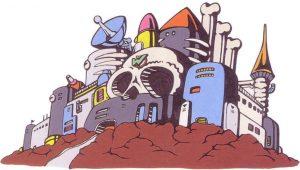 Chaque opus de Mega Man se termine par un affrontement dans la forteresse du Dr. Wily.  (Artwork pour Mega Man 2)