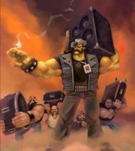 Premier design d'Eddie Riggs, inspiré de Lemmy Kilmister (Motörhead)