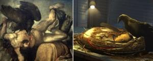 La scène du corbeau évoque le mythe de Prométhée, et son supplice sans fin.