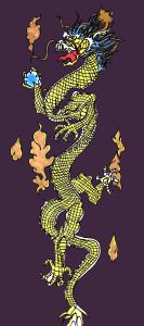 Le dragon représenté sur le costume de Lan Di