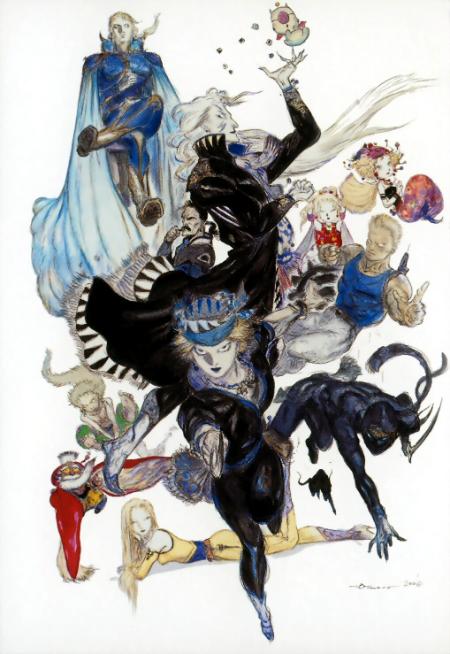 Une illustration de Yoshitaka Amano présentant 12 des 14 personnages principaux.