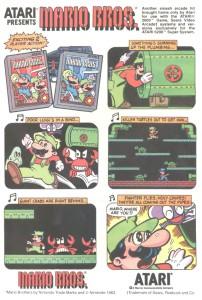 Publicité pour la sortie de Mario Bros. sur Atari 2600 et 5200 (1983)