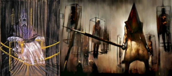 À gauche : Francis Bacon, Étude d'après le portrait du pape Innocent X de Vélasquez (1953), à droite : Tableau présent dans Silent Hill 2.