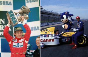 A gauche : Ayrton Sennaet son trophée Sonic. A droite : Prost et Hill avec leurs tenues Sonic.