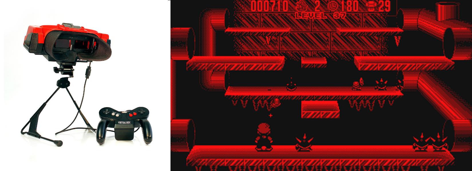 À gauche : le Virtual Boy À droite : Le jeu Mario Clash
