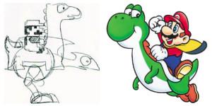 Le croquis de Miyamoto à gauche à l'époque de Super Mario Bros., le design final de Hino à droite pour Super Mario World.