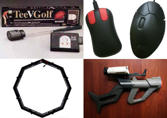 Le TeeVGolf, le SEGA Activator, la Mega Mouse et le SEGA Menacer.