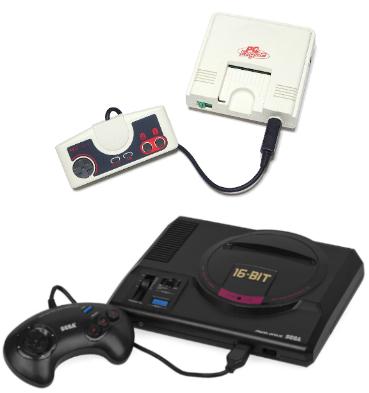 La PC Engine de NEC et la Mega Drive de SEGA, les deux concurrentes de la Super Famicom.