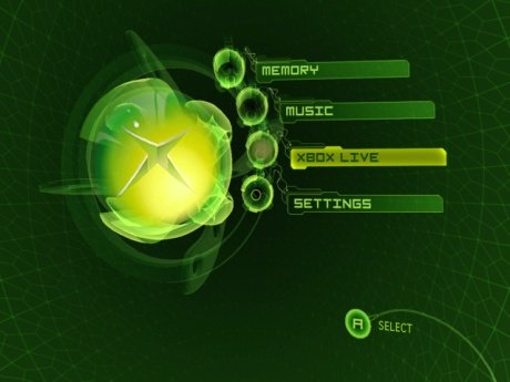 Le menu d'accueil de la Xbox.