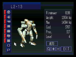 À gauche, les icones représentent chacune des parties modifiable du robot. À droite un résumé des capacité.